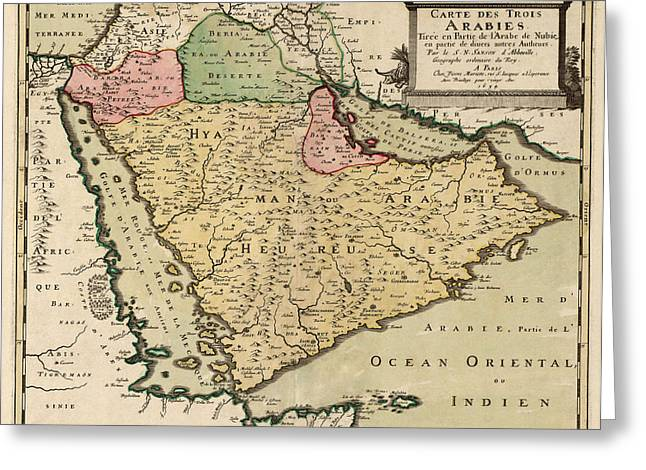 Antique Map of Saudi Arabia and the Arabian Peninsula by Nicolas Sanson - 1654 Greeting Card by Blue Monocle