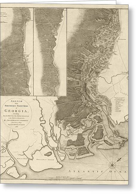 Revolutionary War Drawings Greeting Cards - Antique Map of Savannah Georgia by Archibald Campbell - 1780 Greeting Card by Blue Monocle