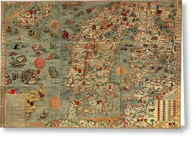 Antique Map Of Scandinavia 1539 Greeting Card by Mountain Dreams