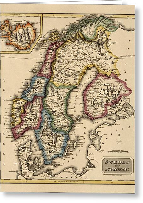 Antique Map Of Scandinavia By Fielding Lucas - Circa 1817 Greeting Card by Blue Monocle