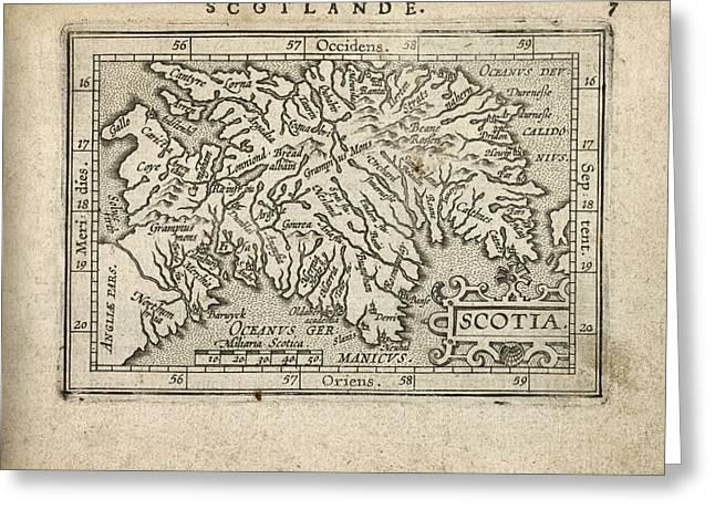 Ortelius Greeting Cards - Antique Map of Scotland by Abraham Ortelius - 1603 Greeting Card by Blue Monocle