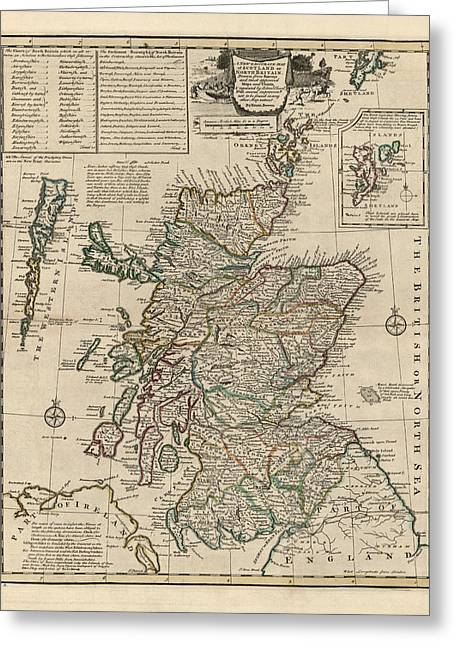 Scotland Greeting Cards - Antique Map of Scotland by Emanuel Bowen - 1752 Greeting Card by Blue Monocle