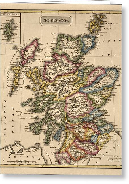 Great Drawings Greeting Cards - Antique Map of Scotland by Fielding Lucas - circa 1817 Greeting Card by Blue Monocle