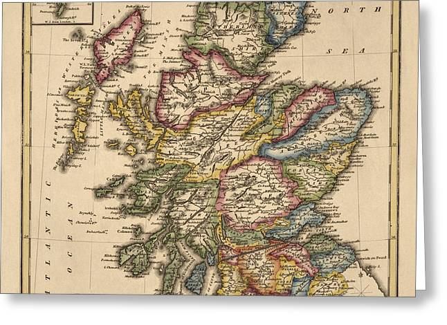 Antique Map of Scotland by Fielding Lucas - circa 1817 Greeting Card by Blue Monocle