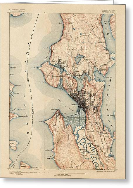 Washington State Greeting Cards - Antique Map of Seattle - USGS Topographic Map - 1894 Greeting Card by Blue Monocle