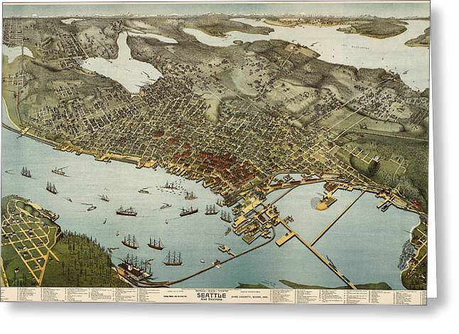 Washington State Greeting Cards - Antique Map of Seattle Washington by Augustus Koch - 1891 Greeting Card by Blue Monocle