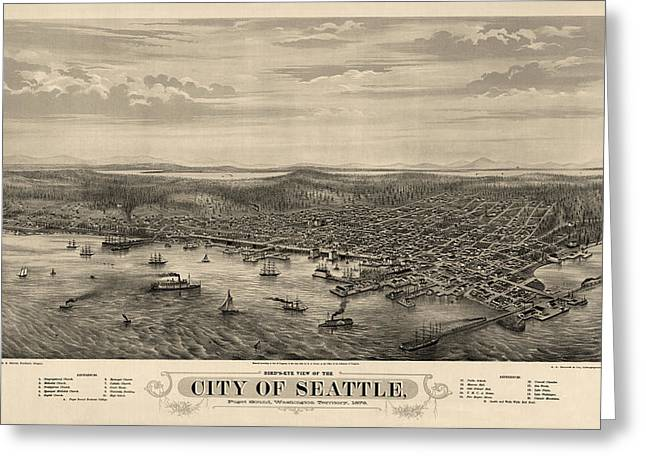 View Drawings Greeting Cards - Antique Map of Seattle Washington by E.S. Glover - 1878 Greeting Card by Blue Monocle
