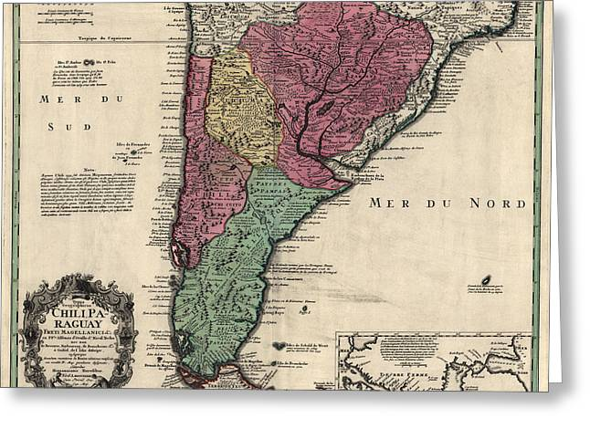 South Drawings Greeting Cards - Antique Map of South America by Alonso de Ovalle - 1733 Greeting Card by Blue Monocle