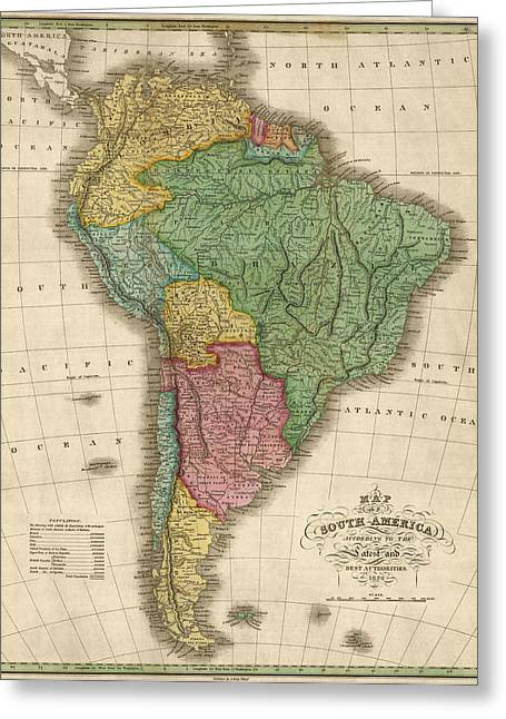 Old South Greeting Cards - Antique Map of South America by Anthony Finley - 1826 Greeting Card by Blue Monocle