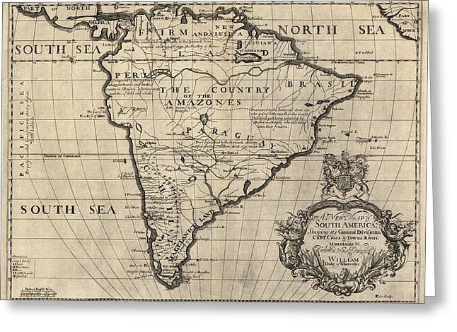 Old South Greeting Cards - Antique Map of South America by Edward Wells - circa 1700 Greeting Card by Blue Monocle