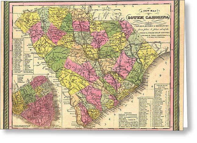 Charleston Drawings Greeting Cards - Antique Map of South Carolina and Charleston 1850 Greeting Card by Mountain Dreams