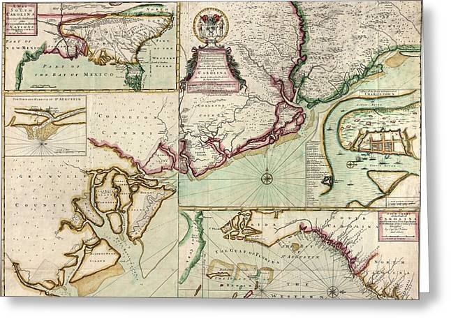 Old South Greeting Cards - Antique Map of South Carolina by Edward Crisp - circa 1711 Greeting Card by Blue Monocle