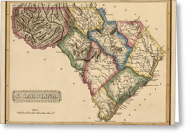 Old South Greeting Cards - Antique Map of South Carolina by Fielding Lucas - circa 1817 Greeting Card by Blue Monocle
