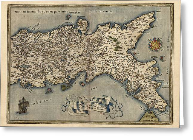 Antique Map Of Southern Italy By Abraham Ortelius - 1570 Greeting Card by Blue Monocle