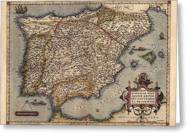 Ortelius Greeting Cards - Antique Map of Spain and Portugal by Abraham Ortelius - 1570 Greeting Card by Blue Monocle