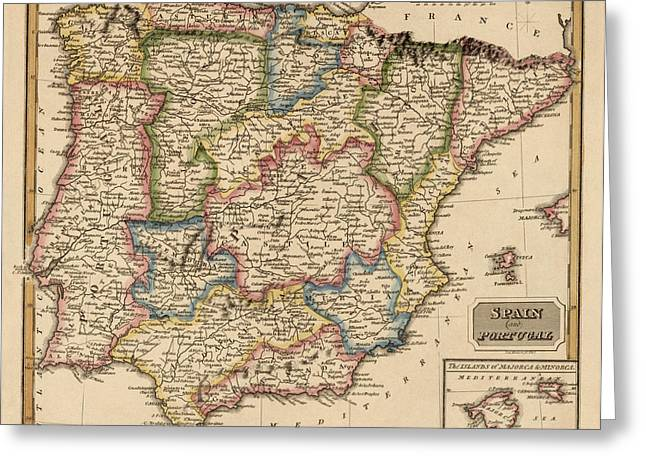 Portugal Art Greeting Cards - Antique Map of Spain and Portugal by Fielding Lucas - circa 1817 Greeting Card by Blue Monocle