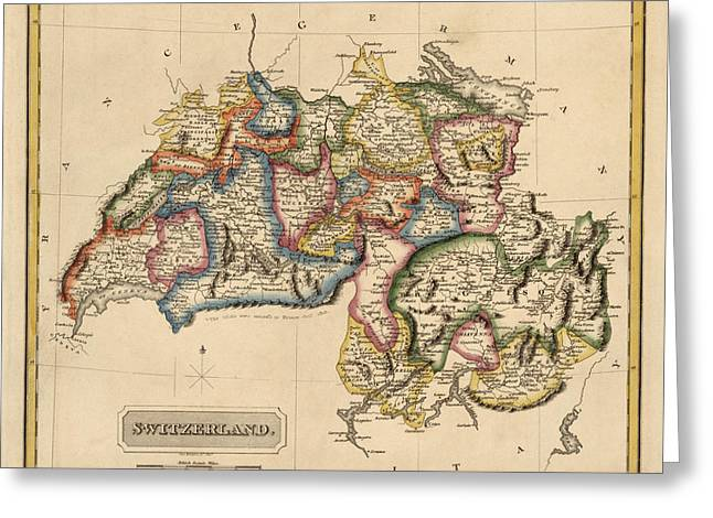 Switzerland Drawings Greeting Cards - Antique Map of Switzerland by Fielding Lucas - circa 1817 Greeting Card by Blue Monocle