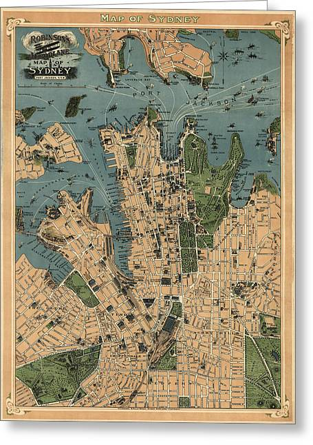 Australia Map Greeting Cards - Antique Map of Sydney Australia - 1922 Greeting Card by Blue Monocle