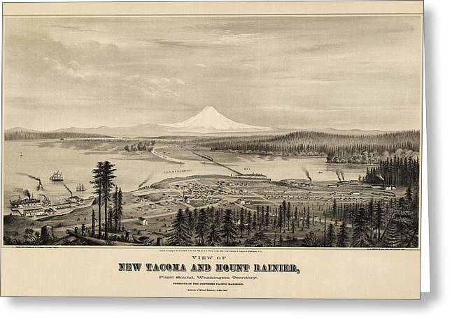 Tacoma Greeting Cards - Antique Map of Tacoma Washington by E.S. Glover - 1878 Greeting Card by Blue Monocle