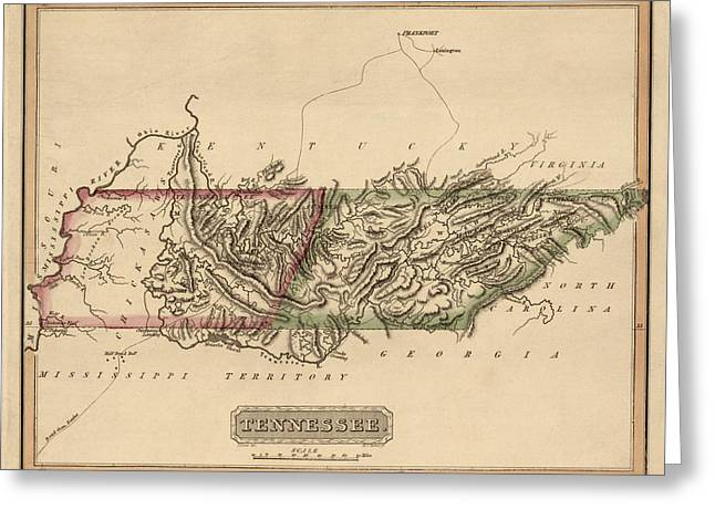 Tennessee Drawings Greeting Cards - Antique Map of Tennessee by Fielding Lucas - circa 1817 Greeting Card by Blue Monocle