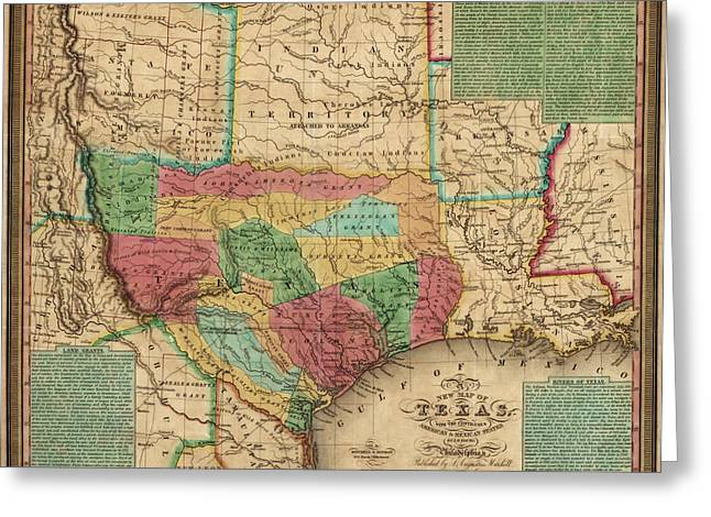 Hamilton Greeting Cards - Antique Map of Texas by James Hamilton Young - 1835 Greeting Card by Blue Monocle