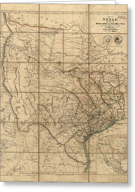 Texas A And M Drawings Greeting Cards - Antique Map of Texas by John Arrowsmith - 1841 Greeting Card by Blue Monocle