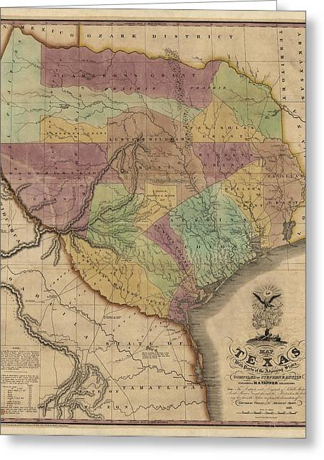 Texas A And M Drawings Greeting Cards - Antique Map of Texas by Stephen F. Austin - 1837 Greeting Card by Blue Monocle