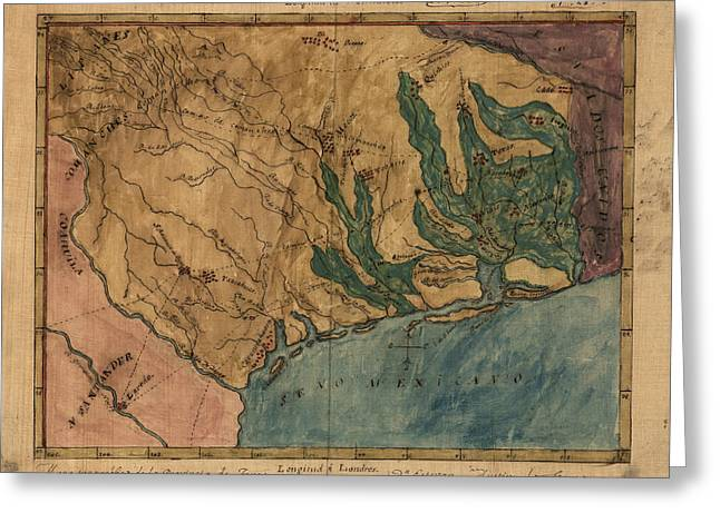 Texas A And M Drawings Greeting Cards - Antique Map of Texas by Stephen F. Austin - circa 1822 Greeting Card by Blue Monocle