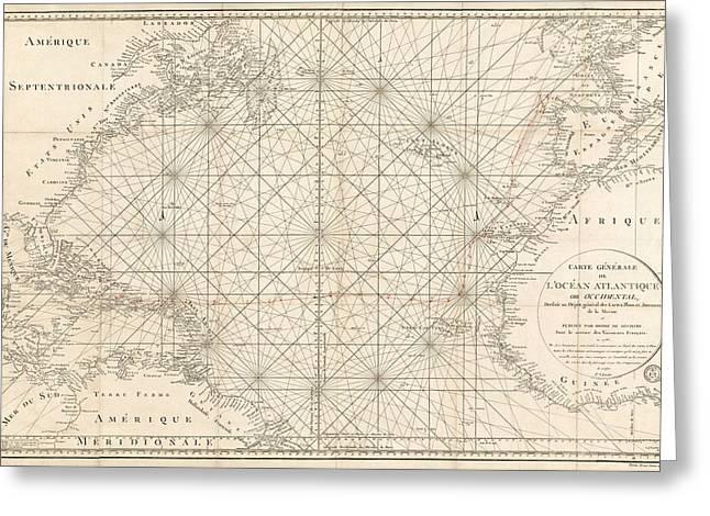 Atlantic Ocean Greeting Cards - Antique Map of the Atlantic Ocean - 1792 Greeting Card by Blue Monocle