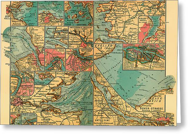 North Sea Drawings Greeting Cards - Antique Map of the Baltic and North Sea Ports  Greeting Card by Mountain Dreams