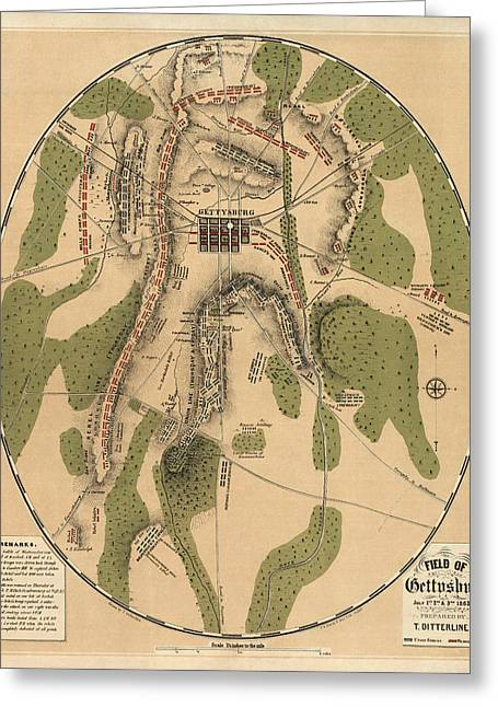 Gettysburg Greeting Cards - Antique Map of the Battle of Gettysburg by T. Ditterline - 1863 Greeting Card by Blue Monocle