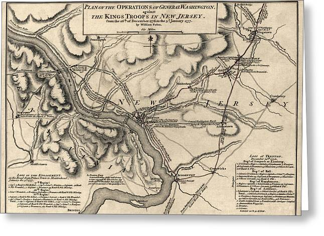 Revolutionary War Drawings Greeting Cards - Antique Map of the Battle of Trenton by William Faden - 1777 Greeting Card by Blue Monocle