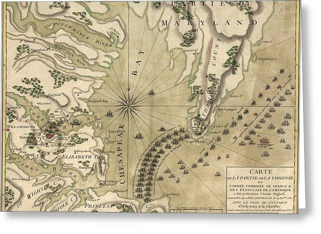 Revolutionary War Drawings Greeting Cards - Antique Map of the Battle of Yorktown Virginia by Esnauts et Rapilly - circa 1781 Greeting Card by Blue Monocle
