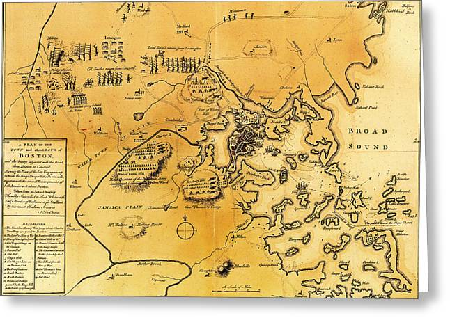 Concord Greeting Cards - Antique Map of the Battles of Lexington and Concord 1775 Greeting Card by Mountain Dreams