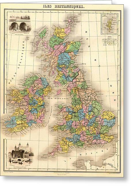 Old Country Roads Drawings Greeting Cards - Antique Map of the British Isles 1878 Greeting Card by Mountain Dreams