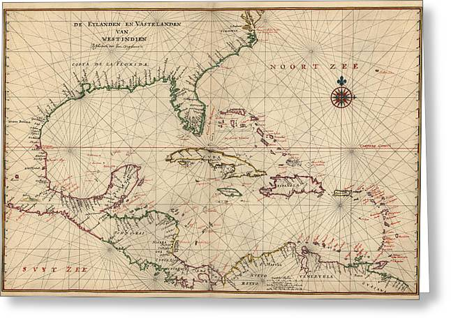 Navigation Greeting Cards - Antique Map of the Caribbean and Central America by Joan Vinckeboons - circa 1639 Greeting Card by Blue Monocle