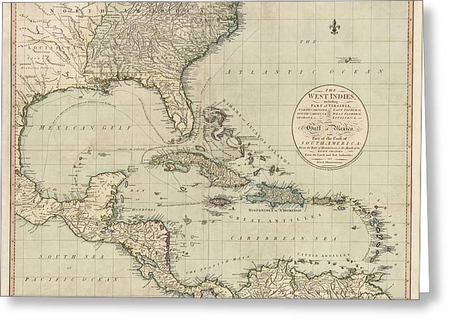 West Indies Greeting Cards - Antique Map of the Caribbean and Central America by John Cary - 1783 Greeting Card by Blue Monocle