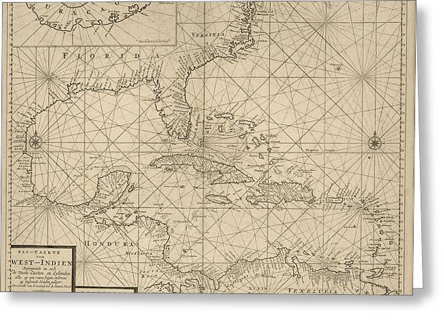 West Indies Greeting Cards - Antique Map of the Caribbean by Johannes Loots - circa 1705 Greeting Card by Blue Monocle