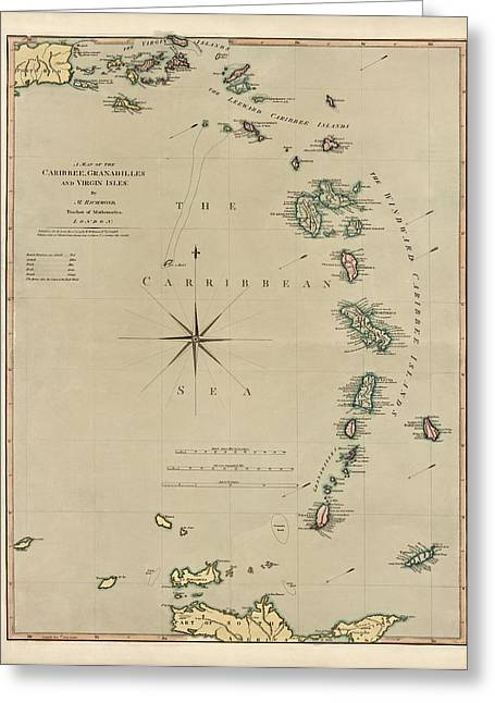 Virgin Islands Greeting Cards - Antique Map of the Caribbean - Lesser Antilles - by Mathew Richmond - 1789 Greeting Card by Blue Monocle