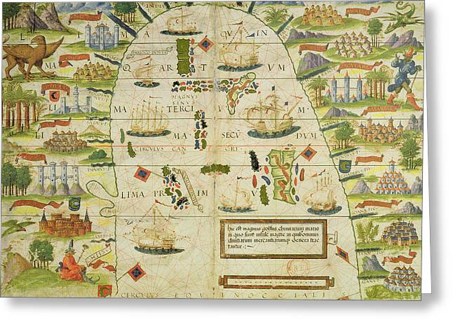 Historic Ship Greeting Cards - Antique Map of the China sea Greeting Card by Pedro Reinel