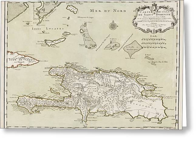 Hispaniola Greeting Cards - Antique Map of the Dominican Republic and Haiti by Jacques Nicolas Bellin - 1745 Greeting Card by Blue Monocle