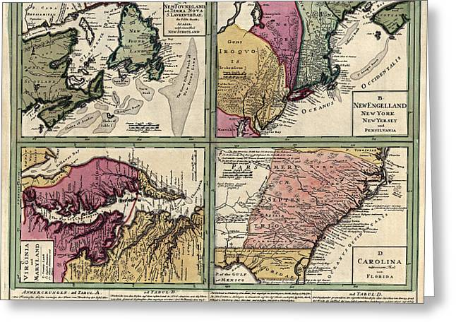 Chesapeake Bay Greeting Cards - Antique Map of Colonial America by Homann Erben - circa 1760 Greeting Card by Blue Monocle