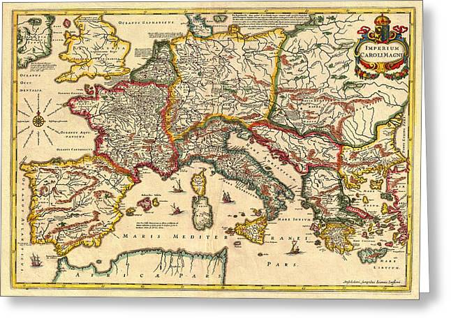Old Country Roads Drawings Greeting Cards - Antique Map of the Empire of Charlemagne  1657 Greeting Card by Mountain Dreams