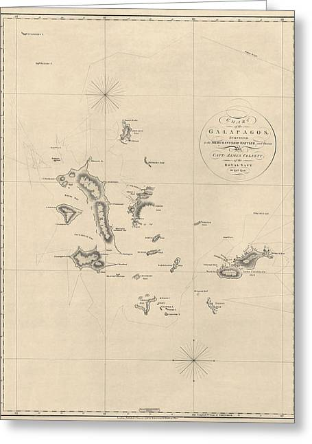 Islands Drawings Greeting Cards - Antique Map of the Galapagos Islands by James Colnett - 1798 Greeting Card by Blue Monocle