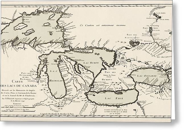The Great Lakes Greeting Cards - Antique Map of the Great Lakes by Jacques Nicolas Bellin - 1742 Greeting Card by Blue Monocle