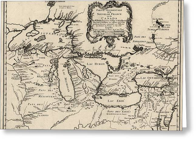 America Drawings Greeting Cards - Antique Map of the Great Lakes by Jacques Nicolas Bellin - 1755 Greeting Card by Blue Monocle