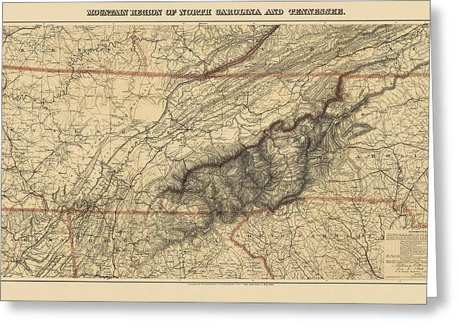 Great Smoky Mountains Greeting Cards - Antique Map of the Great Smoky Mountains - North Carolina and Tennessee - by W. L. Nickolson - 1864 Greeting Card by Blue Monocle