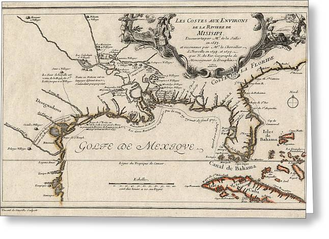 Gulf Coast Greeting Cards - Antique Map of the Gulf Coast and the Southeast by Nicolas de Fer - 1701 Greeting Card by Blue Monocle
