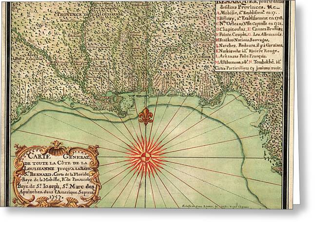 Gulf Coast Greeting Cards - Antique Map of the Gulf Coast by Alexandre de Batz - 1747 Greeting Card by Blue Monocle