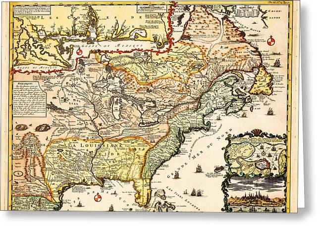 Photographs Drawings Greeting Cards - Antique Map of the Harbor of St Louis Mississippi River Greeting Card by Celestial Images